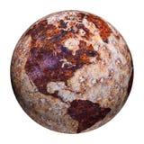 Globe terrestre - souillures de corrosion sur le fer illustration libre de droits
