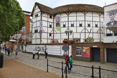 Globe theatre. LONDON, UK - JULY 8, 2016: People visit The Globe theatre in London, UK. London is the most populous city in the UK with 13 million people living Stock Photography