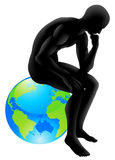 Globe thinker concept. Thinker style person sitting on a globe, could be concept for thinking about the environment or thinking globally vector illustration