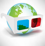 Globe with three dimensional glasses Stock Photography