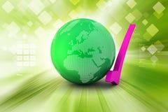 Globe with tick mark Royalty Free Stock Photo