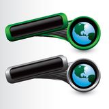 Globe on tilted green and silver banners Stock Image