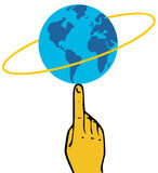 Globe at tip of finger. Globe at the tip of the finger with axis around Royalty Free Stock Image