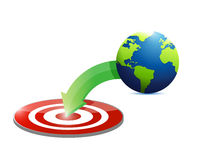 Globe to target illustration design Royalty Free Stock Photo