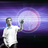 Globe touch. Young business man search on hologram  globe screen,illustration,photorealism Royalty Free Stock Photo