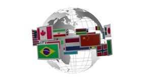 Globe tournant avec des drapeaux