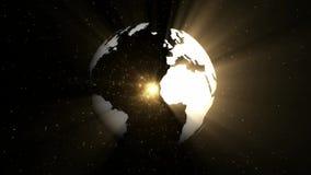 Globe tournant avec les rayons légers abstraits faisant une boucle le fond de mouvement illustration stock