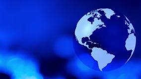 Globe tournant bleu avec le fond abstrait de mouvement