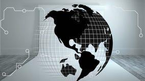 Globe tournant dans la chambre vide illustration libre de droits