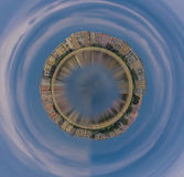 Globe town, bucharest panorama globe architecture on the lake Stock Image