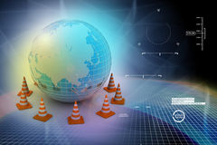 Globe and traffic cone Royalty Free Stock Images