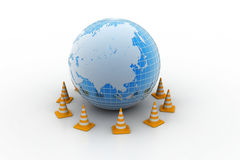 Globe and traffic cone Stock Image
