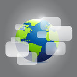 Globe and transparent boxes illustration Stock Photos