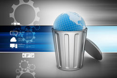 Globe in trash bin Royalty Free Stock Photos