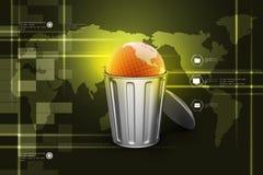 Globe in trash bin Stock Images