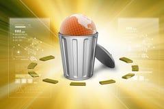 Globe in trash bin in color background Stock Images
