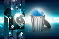 Globe in trash bin Royalty Free Stock Images