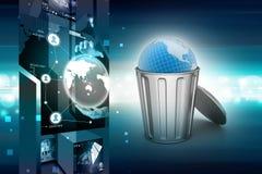 Globe in trash bin Royalty Free Stock Images
