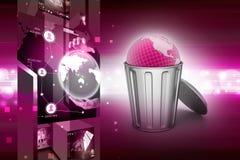 Globe in trash bin Stock Photo