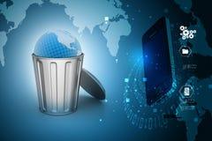 Globe in trash bin Royalty Free Stock Image