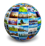 Globe with travel photos. Global travel media world globe concept - picture sphere with travel images isolated on white. All photos are from my portfolio Royalty Free Stock Image