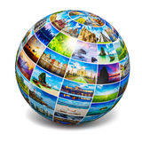 Globe with travel photos. Global travel media world globe concept - picture sphere with travel images on white. All photos are from my portfolio vector illustration