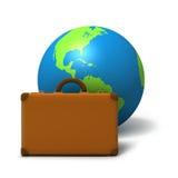 Globe with traveling bag. On white background Stock Photo