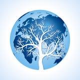 Globe and tree Royalty Free Stock Photos