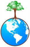Globe with tree. Wonderful detail of globe with green tree designed by illustrator Royalty Free Stock Photos
