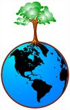 Globe with tree. Wonderful detail of globe with green tree designed by illustrator Royalty Free Stock Photo