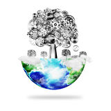 Globe with tree of cogs and gears wheel Royalty Free Stock Images