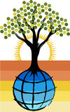 Globe tree logo Royalty Free Stock Image