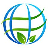Globe tree logo on white stock illustration