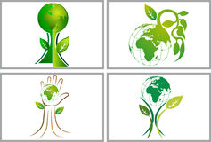 Globe tree set collection logos Royalty Free Stock Photography