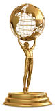 Globe Trophy. A gold trophy of a man holding a globe isolated on a white background. Includes detailed clipping path Stock Photos