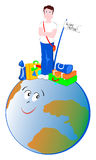 Globe trotter. Vector illustration that depicts a young tourist smiling next to his bag and standing on top of the world they want to travel very Stock Photo