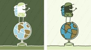 Globe trotter colored cartoon Stock Image