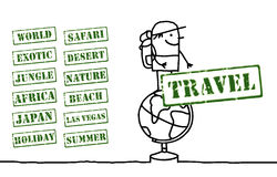 Globe trotter and words Stock Photo