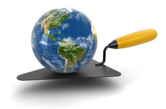 Globe and Trowel (clipping path included) Stock Images