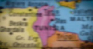 Globe with Tunisia country map. Jakarta - Indonesia. February 14, 2018: Macro shot of a globe with Tunisia country map. Tunisia is a country in North Africa stock footage