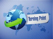 Globe and turning point illustration. Design over a blue background Royalty Free Stock Image