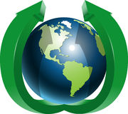 Globe and two green arrows top Royalty Free Stock Image