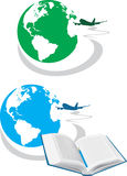 Globe. Two icons for travel concept Stock Images