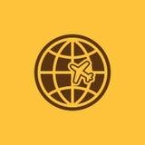 The Globe und Flächenreiseikone Versandsymbol flach Lizenzfreies Stockfoto