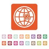 The Globe und Flächenreiseikone Versandsymbol flach Lizenzfreie Stockfotografie
