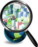 Globe under a magnifying glass and the city. Illustration, blue globe under magnifying glass on white background Stock Photos