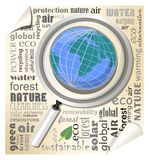 Globe under a magnifying glass. Leaflet with typographic elements in the field of ecology and environment. Stock Image