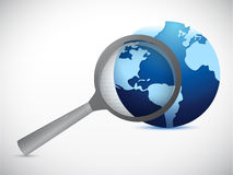 Globe under search illustration design. Over a white background Royalty Free Stock Image