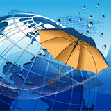 Globe under the umbrella Royalty Free Stock Photography