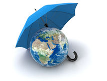 Globe under Umbrella (clipping path included) Royalty Free Stock Image